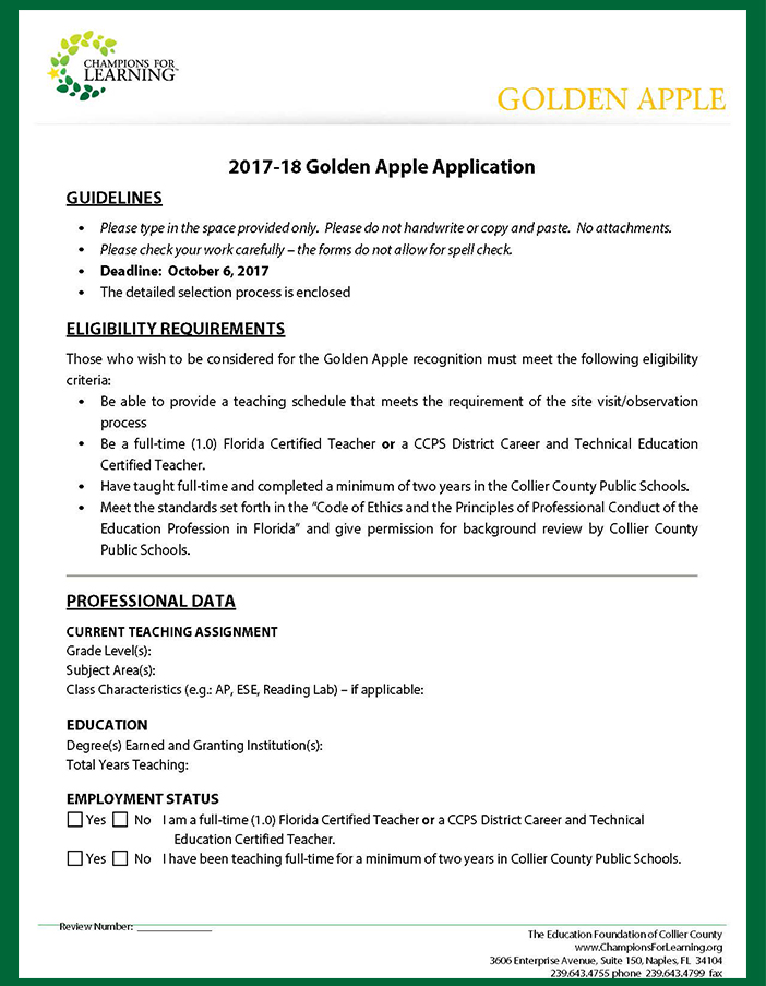 Golden Apple 2017-20178 application